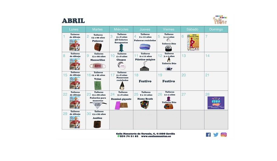 Calendario Dibujo 2019.Calendario Abril 2019 Con Las Manitas